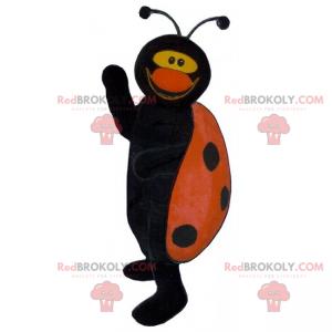 Marienkäfer Maskottchen schwarz und rot lächelnd -