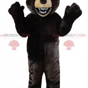 Černý a béžový medvěd maskot řvoucí vzduch - Redbrokoly.com