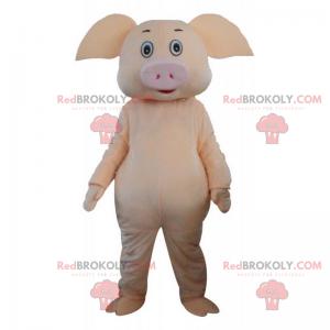 Gelbes Schweinemaskottchen mit großen Ohren - Redbrokoly.com