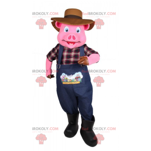 Pink pig mascot in farmer outfit - Redbrokoly.com
