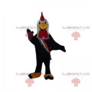 Maskot černý kohout s trikolorní šála - Redbrokoly.com