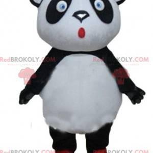 Duża czarno-biała maskotka panda z niebieskimi oczami -