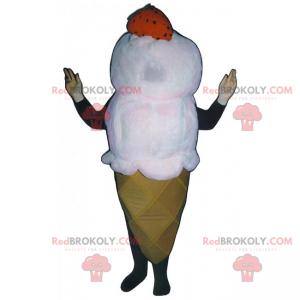 Vanilla ice cream cone mascot with a strawberry - Redbrokoly.com