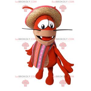Mascote caranguejo com poncho e chapéu - Redbrokoly.com