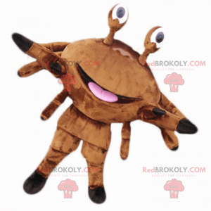 Mascote do caranguejo marrom com um grande sorriso -