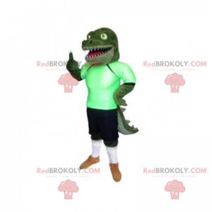 Krokodilmaskottchen in Fußballausrüstung - Redbrokoly.com