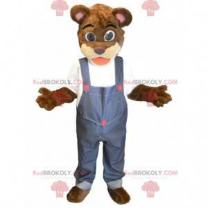 Brown bear mascot overalls - Redbrokoly.com
