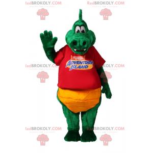 Grønn krokodille maskot med rød t-skjorte - Redbrokoly.com