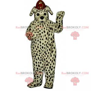 Dalmatian mascot with firefighter helmet - Redbrokoly.com
