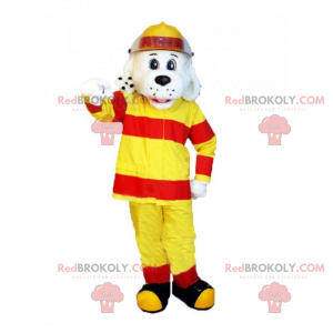 Dalmatian mascot in yellow firefighter outfit - Redbrokoly.com