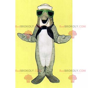 Graues Delfinmaskottchen im Seemannsoutfit - Redbrokoly.com
