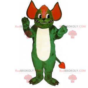 Zelený a červený ďábel maskot - Redbrokoly.com