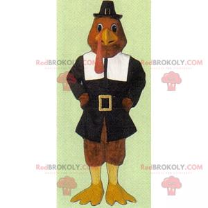 Turkey mascot in Thanksgiving outfit - Redbrokoly.com
