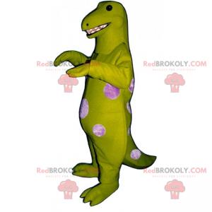 Grünes Dino-Maskottchen mit rosa Punkten - Redbrokoly.com
