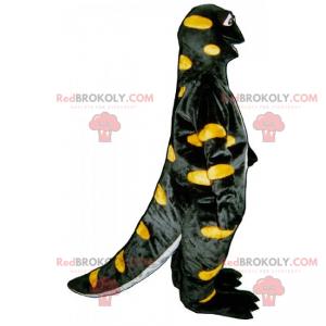 Černý dino maskot se žlutými tečkami - Redbrokoly.com