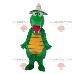 Dino mascot with pointed hat - Redbrokoly.com