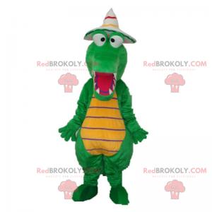 Dino-Maskottchen mit spitzem Hut - Redbrokoly.com
