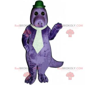 Dino-Maskottchen mit Krawatte und Melone - Redbrokoly.com