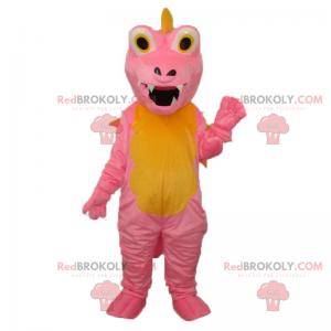 Rosa und gelbes Dino-Maskottchen - Redbrokoly.com