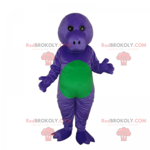 Purple and green Dino mascot without ears - Redbrokoly.com