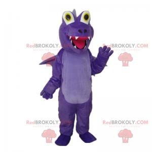 Fialový maskot Dino s úsměvem s velkýma očima - Redbrokoly.com