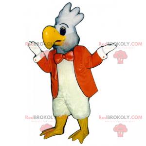 Mascotte pappagallo bianco con una giacca arancione -