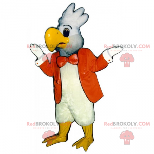 Weißes Papageienmaskottchen mit orangefarbener Jacke -