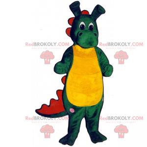 Grünes und gelbes Dinosauriermaskottchen mit langen Ohren -