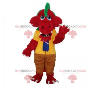 Czerwony dinozaur maskotka w szkolnych ubraniach -