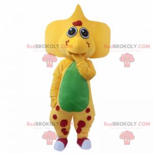 Žlutý maskot dinosaura s velkými ušima a červenými skvrnami -
