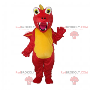 Gelbes und rotes Drachenmaskottchen mit großen Zähnen -