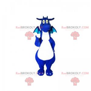 Blaues und weißes Drachenmaskottchen - Redbrokoly.com