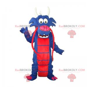 Kinesisk blå og rød drage maskot - Redbrokoly.com