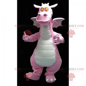 Růžový drak maskot se žlutýma očima - Redbrokoly.com