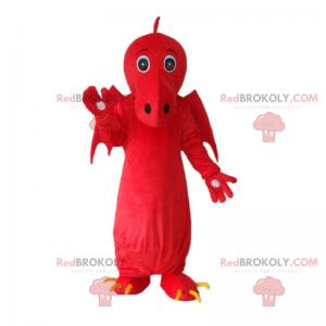 Maskot červený drak s velkými křídly - Redbrokoly.com