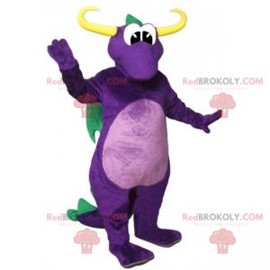 Purple dragon mascot and green wings - Redbrokoly.com