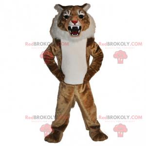 Beige und weißes Katzenmaskottchen - Redbrokoly.com