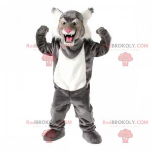 Gray feline mascot with hairy ears - Redbrokoly.com
