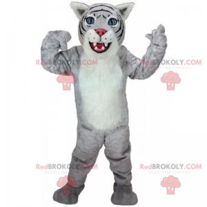 Graues und weißes Katzenmaskottchen - Redbrokoly.com