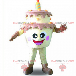 Verjaardagstaart mascotte met lachend gezicht - Redbrokoly.com