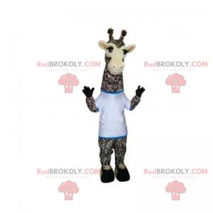 Giraf maskot med hvid t-shirt - Redbrokoly.com