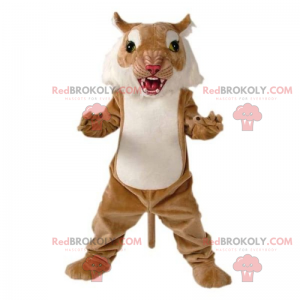 Big brown and white cat mascot - Redbrokoly.com