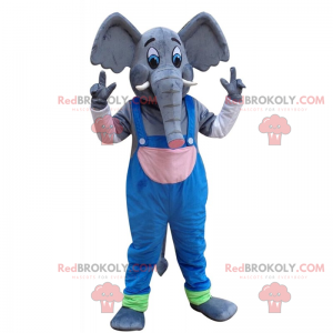 Big elephant mascot with overalls - Redbrokoly.com