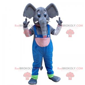Großes Elefantenmaskottchen mit Overall - Redbrokoly.com