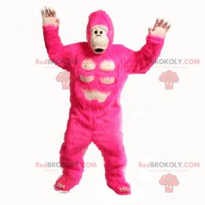 Stor lyserød gorilla maskot - Redbrokoly.com