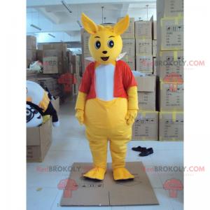 Grote kangoeroe-mascotte met een rood jasje - Redbrokoly.com