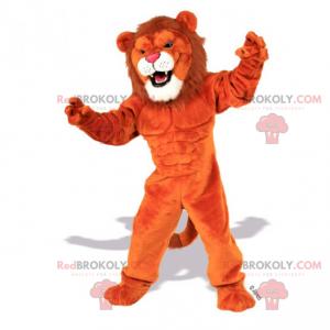 Stor løve maskot med hvit geit - Redbrokoly.com
