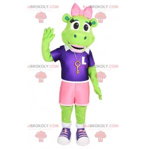 Frog mascot with pink bow and sporty outfit - Redbrokoly.com