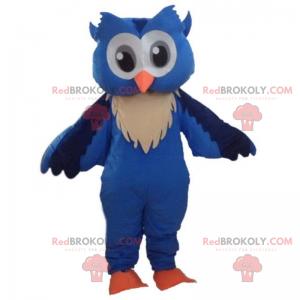 Blue owl mascot with big gray eyes - Redbrokoly.com