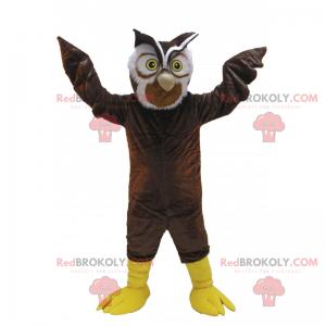 Braune Eule Maskottchen mit gelben Augen - Redbrokoly.com